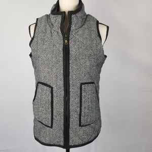E2 Clothing Quilted Herringbone Zip Up Vest